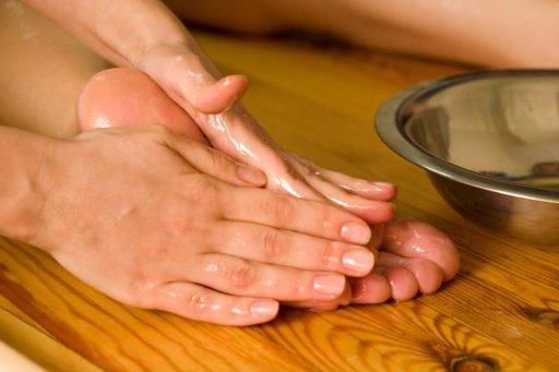 Fußmassage-Griffe mit Öl