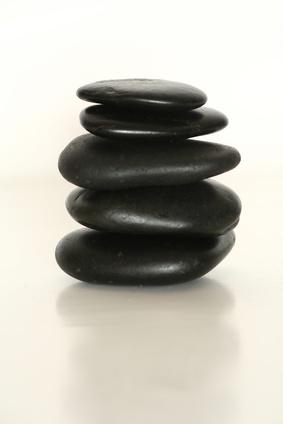 Flache Hot Stones als Layout-Steine