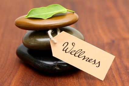 Hot Stones mit Wellness-Schild