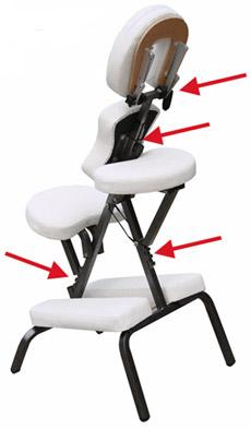 Massagestuhl für die mobile Massage - Einstellmöglichkeiten